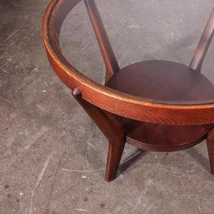 1950's Round Occasional Table By Kozelka And Kropacek for Interieur Praha - Dark Oak