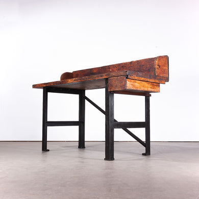 1890s Industrial Mill Work Bench / Console Table With Upstand