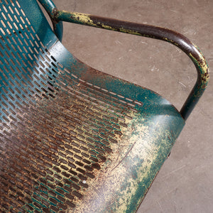 1960s French Municipal Garden / Outdoor / Indoor Bench - Perforated Steel