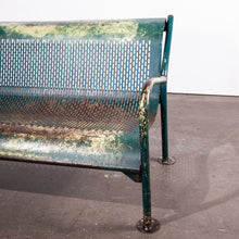 Load image into Gallery viewer, 1960s French Municipal Garden / Outdoor / Indoor Bench - Perforated Steel