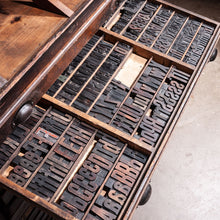 Load image into Gallery viewer, 1920s Printers Cabinet / Drawer Unit With Complete Original Letterpress Typography