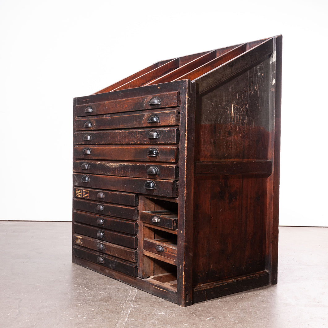 1920s Printers Cabinet / Drawer Unit With Complete Original Letterpress Typography