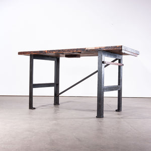 1890s Industrial Mill Work Bench / Console Table