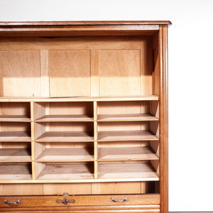 1930s French Tambour Fronted Oak Notaires Cabinet