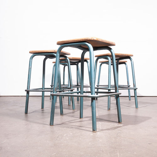 1950s Mullca Industrial French High Stacking Stools - Set Of Six