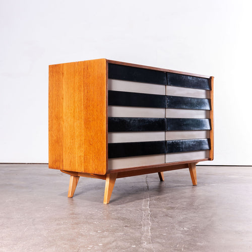1950's Eight Drawer Oak Chest Of Drawers  By Jiri Jiroutek For Interieur Praha