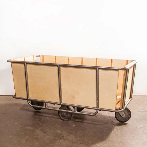 1950's Vintage Industrial Textile Trolley On Wheels With Original Frame And Flexello Wheels