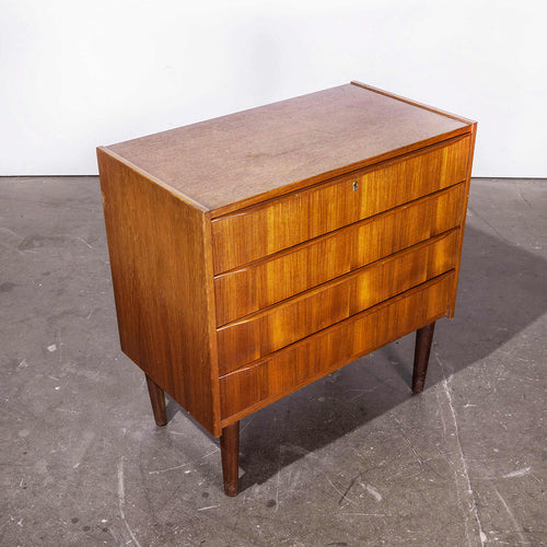 1960's Mid Century Teak Four Drawer Chest Of Drawers