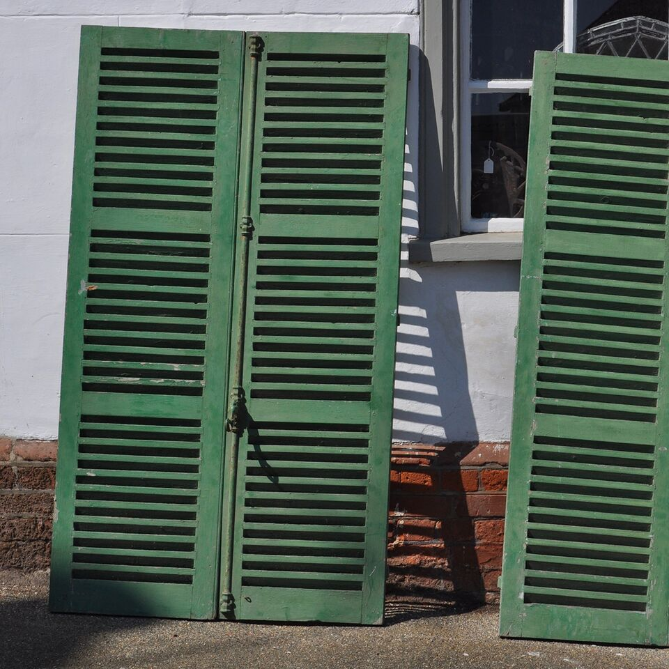 Pair Of Chalky Green Continental Antiques Shutters