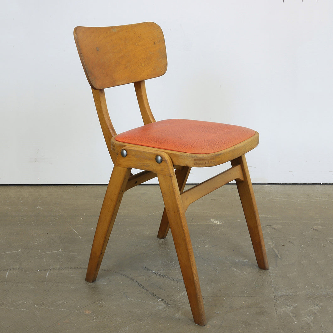 1960s Centa Café/Diner Upholstered Dining Chair - Red Seat - Set Of Four