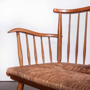1950's Beech Bench - Sofa And Chair Set With Rush Seats - Arno Lambrecht for WK Mobel