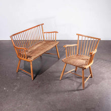 Load image into Gallery viewer, 1950's Beech Bench - Sofa And Chair Set With Rush Seats - Arno Lambrecht for WK Mobel