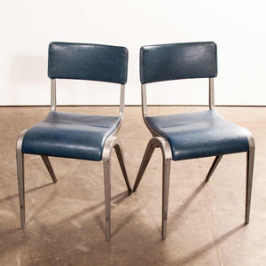 1950's James Leonard Esavian ESA Upholstered Stacking Dining Chairs - Side Chairs - Set Of Two