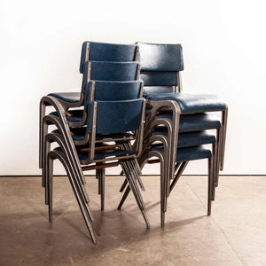 1950's James Leonard Esavian ESA Upholstered Stacking Dining Chairs - Side Chairs - Set Of Eight