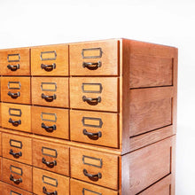 Load image into Gallery viewer, 1950's Oak Tall Multi Drawer Chest Of Drawers - Storage Cabinet - Filing