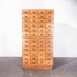 1950's Oak Tall Multi Drawer Chest Of Drawers - Storage Cabinet - Filing