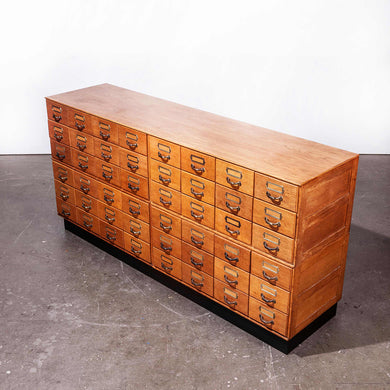 1950's Oak Low Multi Drawer Chest Of Drawers - Storage Cabinet - Sideboard