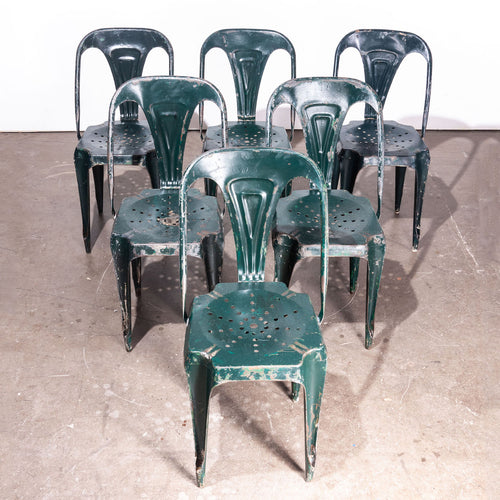 1940's Original Set Of Six French  Multipl's Metal Dining Chairs