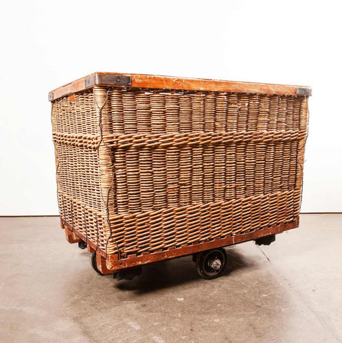 1950's Vintage French Industrial Woven Rattan Trolley – Storage Basket.(669)