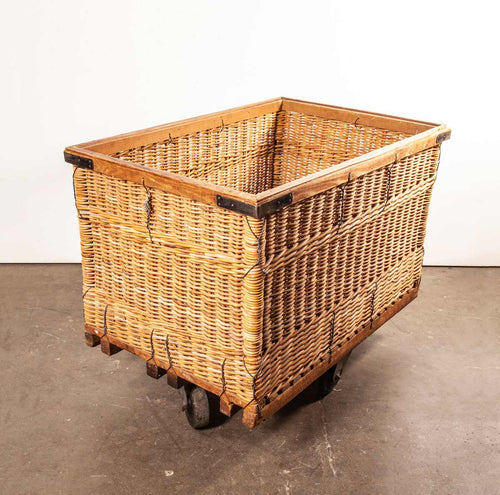 1950's Vintage French Industrial Woven Rattan Trolley – Storage Basket.(670)