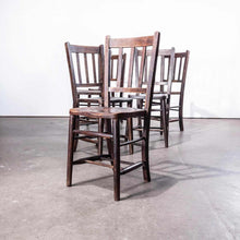 Load image into Gallery viewer, 1920's Dark Elm Church - Chapel Dining Chairs - Set Of Six
