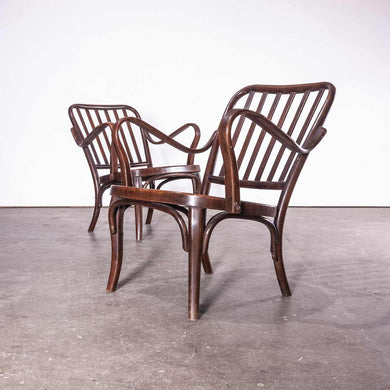 1950's Bentwood Thonet Pair Of Low Arm Chairs Model 752 - Josef Frank