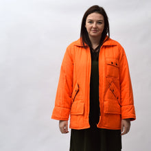 Load image into Gallery viewer, Chiller Killer Neon Orange Vintage Quilted Hunting Jacket