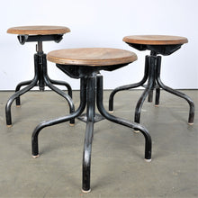 Load image into Gallery viewer, 1950s French Set Of Three Low Industrial / Machinists Stools