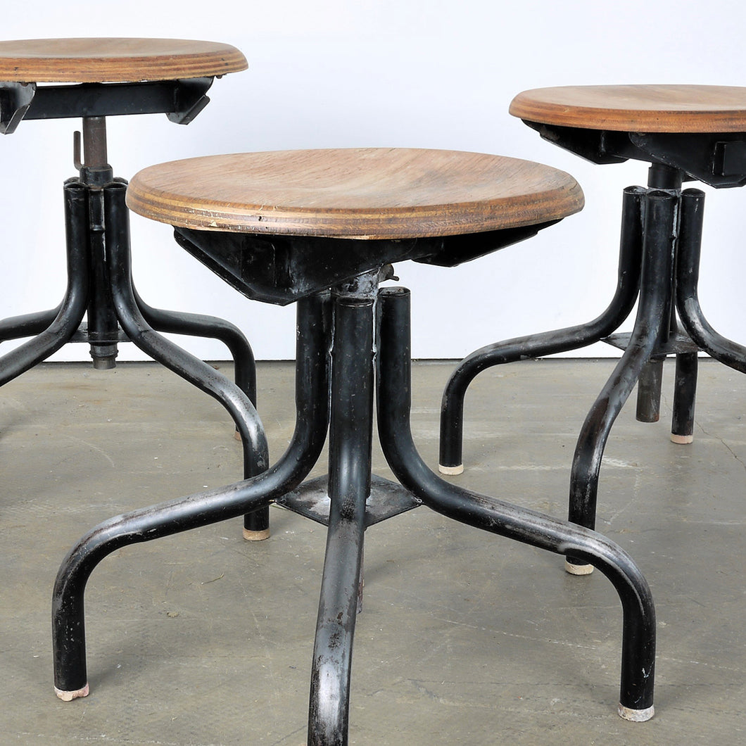 1950s French Set Of Three Low Industrial / Machinists Stools