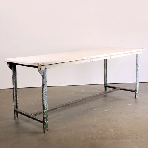 1960's Rectangular White Industrial Metal Dining/Statement Table