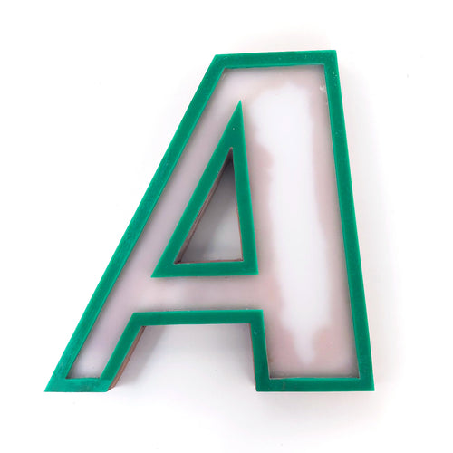 A - Medium Factory Shop Letter Ply Wood & Perspex Green & White