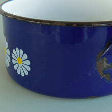 Load image into Gallery viewer, Vintage Set of Three French Blue Enamel Pans with Daisy Design