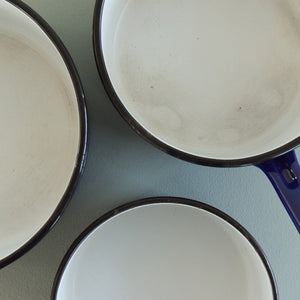 Vintage Set of Three French Blue Enamel Pans with Daisy Design