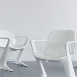 Vintage Set of 4 White Kangaroo Arm Chairs by Ernst Moeckl