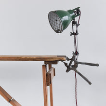 Load image into Gallery viewer, Vintage F.E.W. Green Workbench Task Clip on Lamp