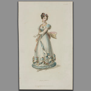 Original Fashion Print by Rudolph Ackerman - Ball Dress - A