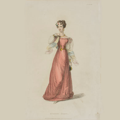 Original Fashion Print by Rudolph Ackerman - Evening Dress - A
