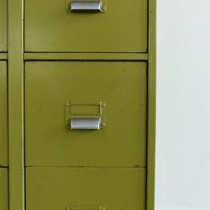 Vintage Metal Avocado Green 10 Drawer Filing Cabinet by Sankey - Sheldon Circa 1966