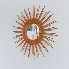 Load image into Gallery viewer, Vintage Round Sun/Starburst Rattan Mirror