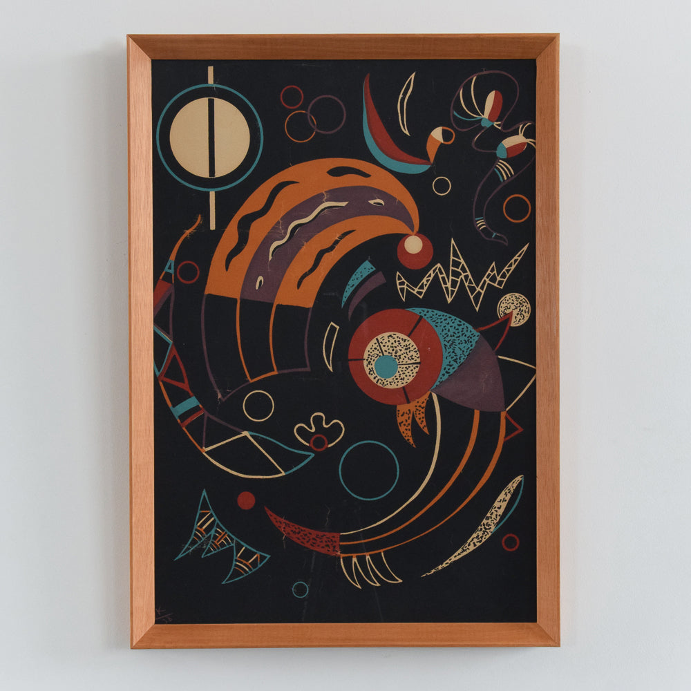 Vintage 1938 Framed Wassily Kandinsky Lithograph Print Titled 'Comets' Possibly From Verve Magazine