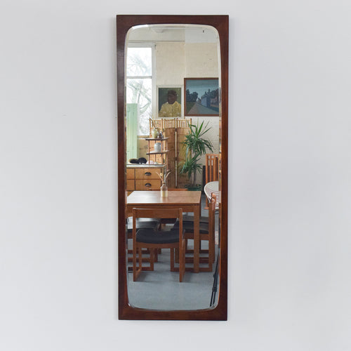 Vintage Long Danish Rosewood Bevelled Mirror