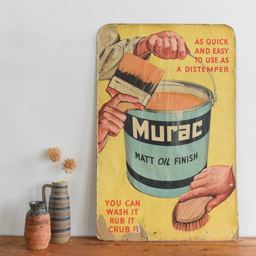 Vintage 'Murac' Paint Cardboard / Paper Advertisement Poster Sign