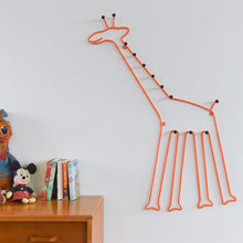 Load image into Gallery viewer, Vintage Orange Large Metal Giraffe Child's Coat Hook