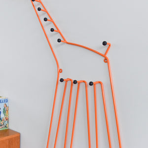 Vintage Orange Large Metal Giraffe Child's Coat Hook