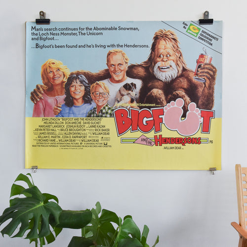 Vintage Original Bigfoot Harry and The Hendersons Movie Film Poster Starring John Lithgow
