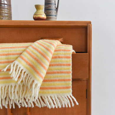 Vintage Wool Yellow and Orange Stripe Blanket