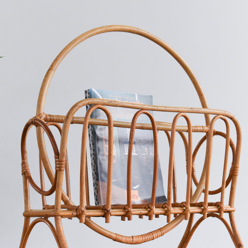 Vintage Bamboo Magazine Rack - A