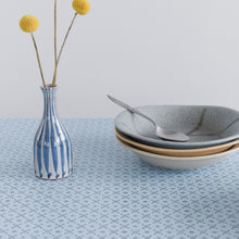 Load image into Gallery viewer, Vintage Blue Patterned Formica Kitchen Table on White Tubular Metal Legs