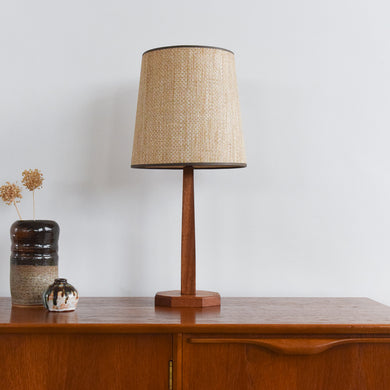 Vintage Small Teak Table Lamp with Natural Textured Hessian Shade