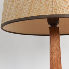Load image into Gallery viewer, Vintage Small Teak Table Lamp with Natural Textured Hessian Shade